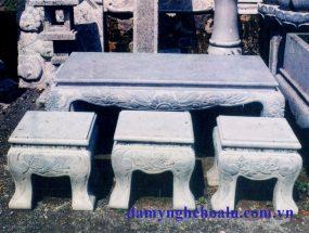 Bậc tam cấp, bể cảnh, bàn ghế đá, đá lát